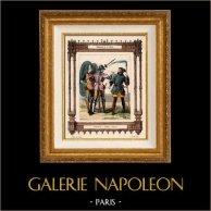 Moda francese e Costumi Francesi - 14 Secolo - XIV Secolo - Soldato - Balestra - Voulgier - Contadino | Incisione su acciaio originale disegnata da Philippoteaux, incisa da  Dupré. 1855