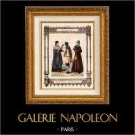 Modes et Costumes Français - 14ème Siècle - XIVème Siècle - Médecin | Gravure sur acier originale dessinée par Philippoteaux, gravée par Dupré. 1855
