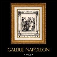 Modes et Costumes Français - 16ème Siècle - XVIème Siècle - Courtisans - Membres du Parlement | Gravure sur acier originale. Anonyme. 1855