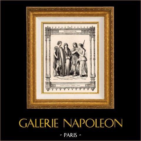 Modes et Costumes Français - Gaulois - Francs - Noblesse - Peuple | Gravure sur acier originale dessinée par Philippoteaux , gravée par Dupré. 1855