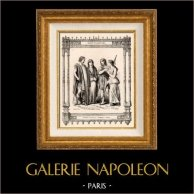 Moda Francesa y Trajes - Galos - Francos - Nobleza - Gente común | Original acero grabado dibujado por Philippoteaux , grabado por Dupré. 1855