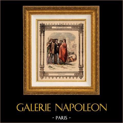 Modes et Costumes Français - Gaulois | Gravure sur acier originale dessinée par Philippoteaux , gravée par Dupré. 1855