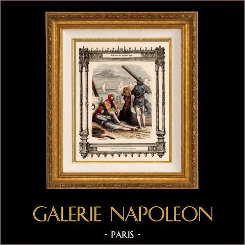 Modes et Costumes Français - Gaulois - Bateliers Parisiens | Gravure sur acier originale dessinée par  Philippoteaux , gravée par Dupré. 1855