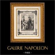 Modes et Costumes Français - 14ème Siècle - XIVème Siècle - Clergé - Noblesse   Gravure sur acier originale dessinée par Philippoteaux , gravée par Dupré. 1855