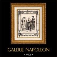 Franskt Mode och Franska Dräkter - 1200-Talet - 13. Århundrade - Adel - Amma | Original stålstick efter teckningar av Philippoteaux , graverade av Dupré. 1855