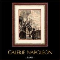 Léonora Dori detto La Galigaï condotta al Supplizio | Incisione xilografica originale disegnata da Loutrel, incisa da Roux. 1890