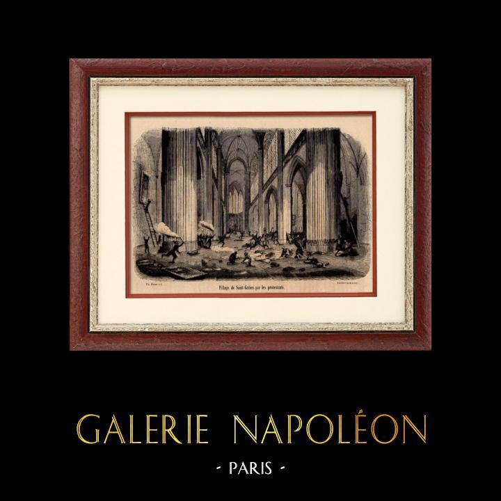 Gravures Anciennes & Dessins | Cathédrale Saint-Gatien de Tours - Pillage par les Protestants (1562) - Guerres de religion | Gravure sur bois | 1890
