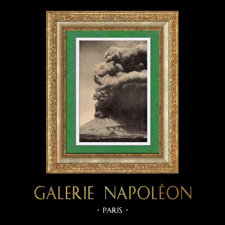Gravures Anciennes & Dessins | Vue d' Italie - Eruption du Vésuve - Baie de Naples | Gravure sur bois | 1891