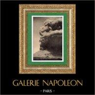 Vue d' Italie - Eruption du Vésuve - Baie de Naples | Gravure sur bois originale. Anonyme. 1891