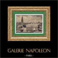 Vue de Venise (Italie) - Palais des Doges - Palais Ducal - Campanile de Saint-Marc | Gravure sur bois originale dessinée par Ch. Barbant, gravée par Barbant. 1891