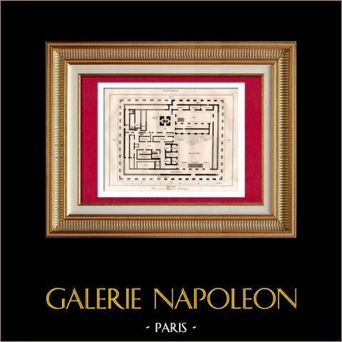 Guatemala - Plan d'un Palais à Palenque - Maya - Indiens | Gravure sur acier originale gravée par Lemaitre direxit. 1838