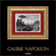 Vue de Rome - Mont Palatin - Ruines des Palais Impériaux (Italie) | Gravure sur bois originale. Anonyme. 1877