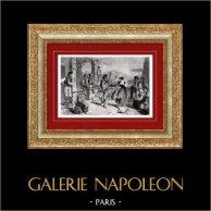 Vue de Naples - La Tarentelle - Danse Traditionnelle (Italie)   Gravure sur bois originale dessinée par C. Maurand. 1877