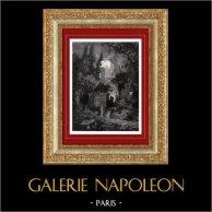 Vue de Naples - Campo Santo Nuovo le Jour de la Toussaint (Italie) | Gravure sur bois originale gravée par E. Goebel. 1874