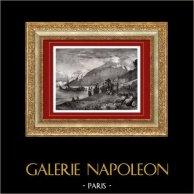 Vue de Capri - Grande Marine - Marina Grande - Arrivée d'une Barque d'Approvisionnement (Italie) | Gravure sur bois originale gravée par A. Closs. 1874
