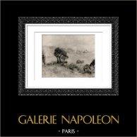 Landscape - Paysage à Guernesey (Auguste Renoir) | Original heliogravure after Auguste Renoir. 1944