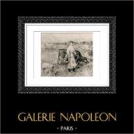 La Donna, la Mucca e la Pecora (Auguste Renoir) | Incisione heliogravure originale secondo Auguste Renoir. 1944