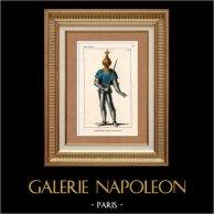 Costume - XIVème Siècle - Costume de guerre de Jean II de France dit Jean le Bon | Gravure sur acier originale. Anonyme. Colorée à la main (coloris d'époque). 1836