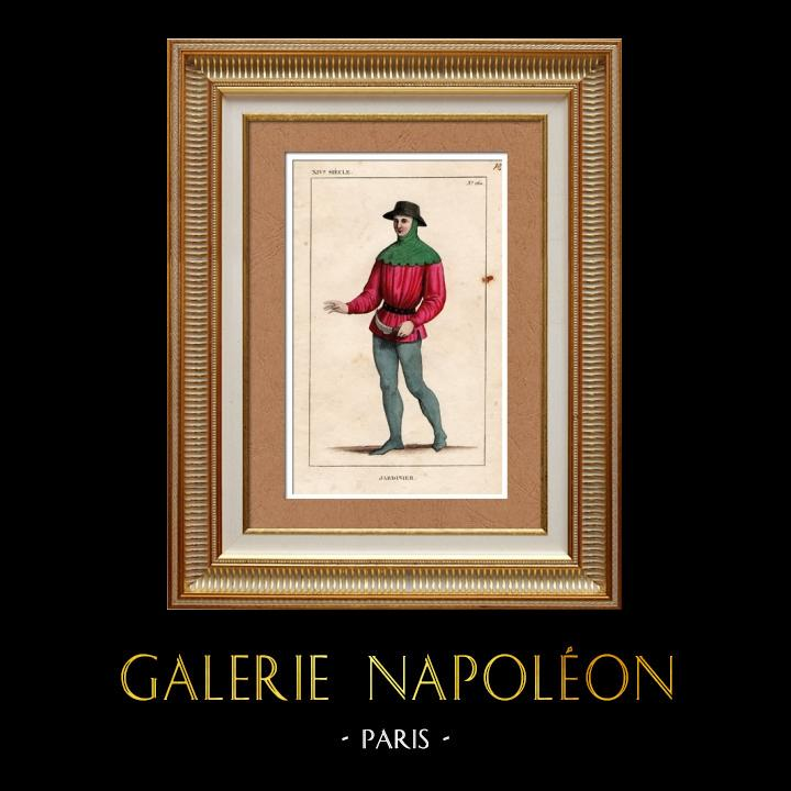 Gravures Anciennes & Dessins   Costumes Français du XIVème Siècle - Jardinier   Taille-douce   1836