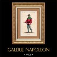 Costumes Français du XIVème Siècle - Jardinier | Gravure sur acier originale. Anonyme. Colorée à la main (coloris d'époque). 1836