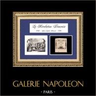 Document Historique - Assignat - Révolution Française - Le Soulèvement de Paris | Assignat de 15 sols et gravure sur bois gravée en 1847 représentant le soulèvement de Paris