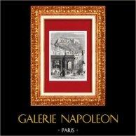 Veduta di Napoli - Castel Sant'Elme - Campania (Italia) | Incisione xilografica originale. Anonima. 1877