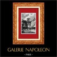 Veduta di Napoli - Porta Capuana - Campania (Italia) | Incisione xilografica originale incisa da G. Bauernfeind. 1877