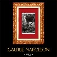 Vue de Naples - Devant une Boulangerie - Campanie - Campania (Italie) | Gravure sur bois originale dessinée par Dill. 1877