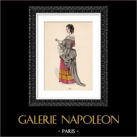 Grabado de Moda Francesa - Siglo 17 - 1655 | Original fotolitografía color. Anónimo. 1930