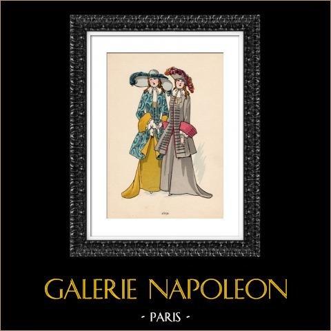 Grabado de Moda Francesa - Siglo 17 - 1650 | Original fotolitografía color. Anónimo. 1930