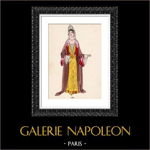 Grabado de Moda Francesa - Siglo 17 - 1680 | Original fotolitografía color. Anónimo. 1930