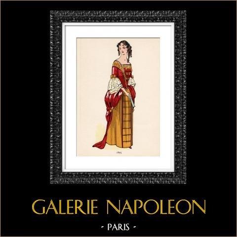 Grabado de Moda Francesa - Siglo 17 - 1675 | Original fotolitografía color. Anónimo. 1930