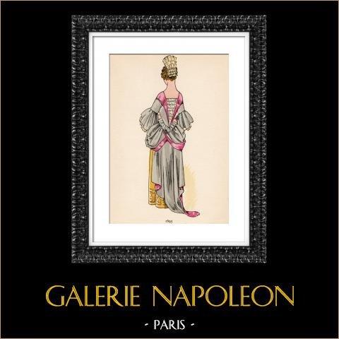 Grabado de Moda Francesa - Siglo 17 - 1695 | Original fotolitografía color. Anónimo. 1930