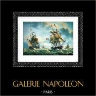Bateau - Voilier - Navire - Sloop Poisson Volant - Aimable - Harmonie - Brick Julie | Photolithographie couleur originale sur papier velin d'après Antoine Roux. 1960