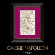 Gammalt Kartlägga av Gabon (Afrika) - Fd fransk koloni - R.P. Neu - Missionärer | Original trästick. Anonymt. 1896