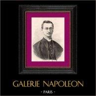 Portrait de Mgr Seghers - Archevêque - Vancouver - Missionnaires catholiques | Gravure sur bois originale dessinée par Canedi. 1896