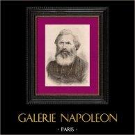 Portrait de Augustin Planque (1826-1907) - Prêtre - Missions africaines de Lyon | Gravure sur bois originale dessinée par Canedi. 1896