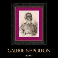 Portrait de George Tupou Ier (1797-1893) - Roi de l'Archipel Tonga (1875–1893) | Gravure sur bois originale dessinée par Gerlier, gravée par Pan. 1896