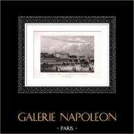 Vue de Paris - Jardin des Tuileries - Assemblée Nationale - Assemblée Nationale | Gravure sur acier originale dessinée par Chamouin direxit. 1850