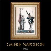Soldado Napoleónico - La Marchande de Coco | Original grabado al aguatinta dibujado por Carle Vernet, grabado por Philibert Louis Debucourt. Coloreado a mano de epoca. 1820