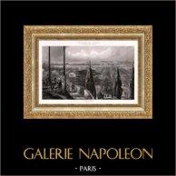 Vue de Paris - Jardin des Plantes - Kiosque du Grand Labyrinthe | Gravure aquatinte originale dessinée et gravée par Louis Marvy. 1845