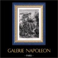 Vue de Montreux - Moulin à Eau - Lac Léman - Lac de Genève (Suisse) | Gravure sur bois originale dessinée par P. Skelton, gravée par Whymper. 1880