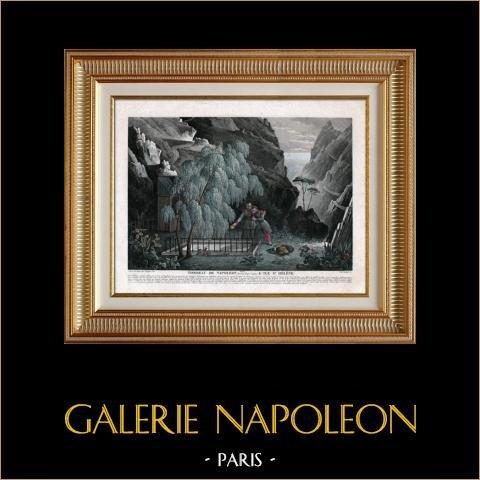 Tombeau de Napoléon - Ile de Sainte Hélène | Gravure aquatinte originale gravée par Paul Legrand. Aquarellée à la main (coloris d'époque). 1835