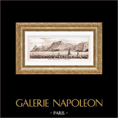 Vue de l'Ile de Sainte-Hélène | Gravure sur cuivre originale. Anonyme. 1815