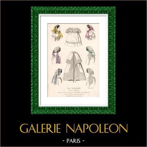 Grabado de Moda Francesa - Siglo 19 - 1850 - Lingerie - Lencería - Le Follet | Original acero grabado. Anónimo. Coloreado a mano de epoca. 1850
