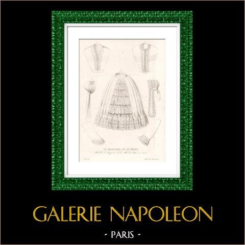 French Fashion Plate - 19th Century - 1850 - Lingerie - Le Moniteur de la Mode | Original steel engraving. Anonymous. Original hand-colored. 1851