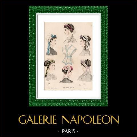 Grabado de Moda Francesa - Siglo 19 - 1850 - Lingerie - Lencería - Le Moniteur de la Mode | Original acero grabado. Anónimo. Coloreado a mano de epoca. 1850