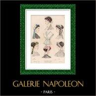 Grabado de Moda Francesa - Siglo 19 - 1850 - Lingerie - Lencería - Le Moniteur de la Mode
