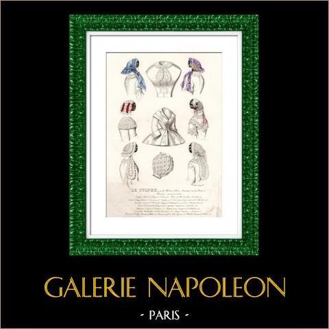 Grabado de Moda Francesa - Siglo 19 - 1850 - Lingerie - Lencería -  Le Sylphe | Original acero grabado. Anónimo. Coloreado a mano de epoca. 1850