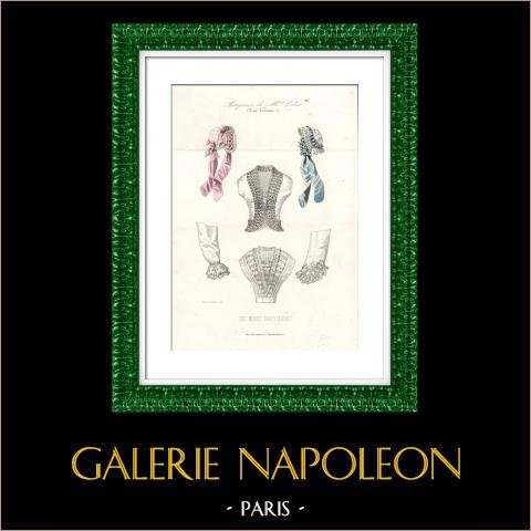 Gravura de Moda Francesa - Século 19 - 1850 - Lingerie - Calcinha - Les Modes Parisiennes | Gravura em metal aço original. Anónima. Colorida à mão (colorido de época). 1850